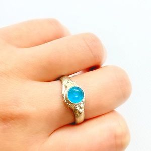 Blue stone silver antique handmade ring